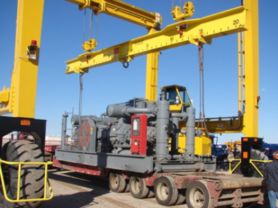 Compressor and Component Loading, Unloading, and Storage with Gantry Crane System